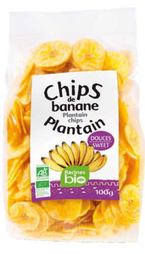 Chips banane plantain doux bio - RACINES