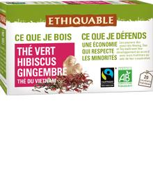 Thé vert Hibiscus Gingembre BIO, infusettes