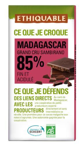 Chocolat noir 85% cacao Madagascar BIO, 100 g